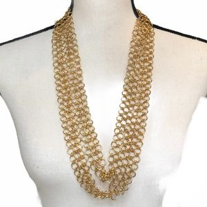 JOAN RIVERS 3 STRAND GOLD CHAIN LINK NECKLACE